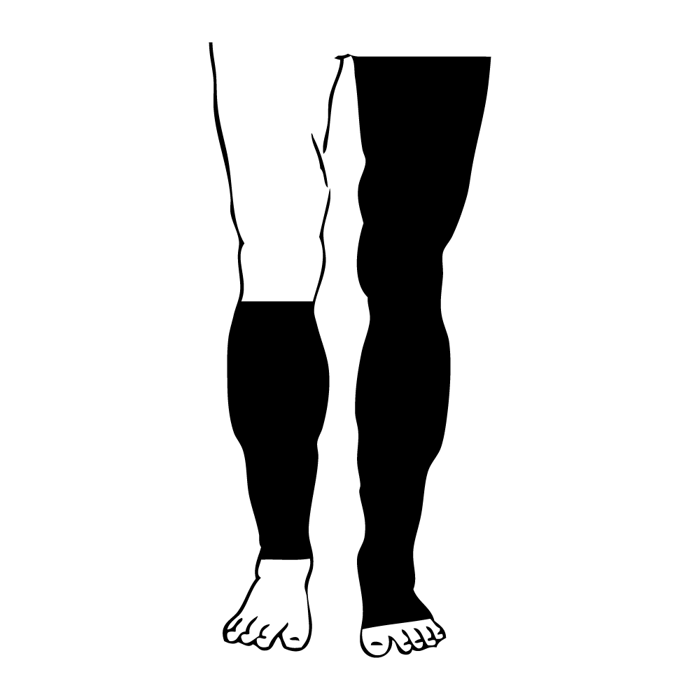 calf level leg garment with foot addition